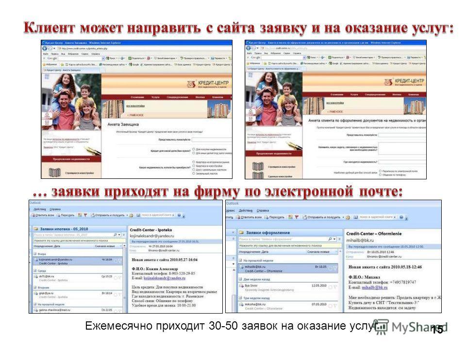 Ежемесячно приходит 30-50 заявок на оказание услуг 15
