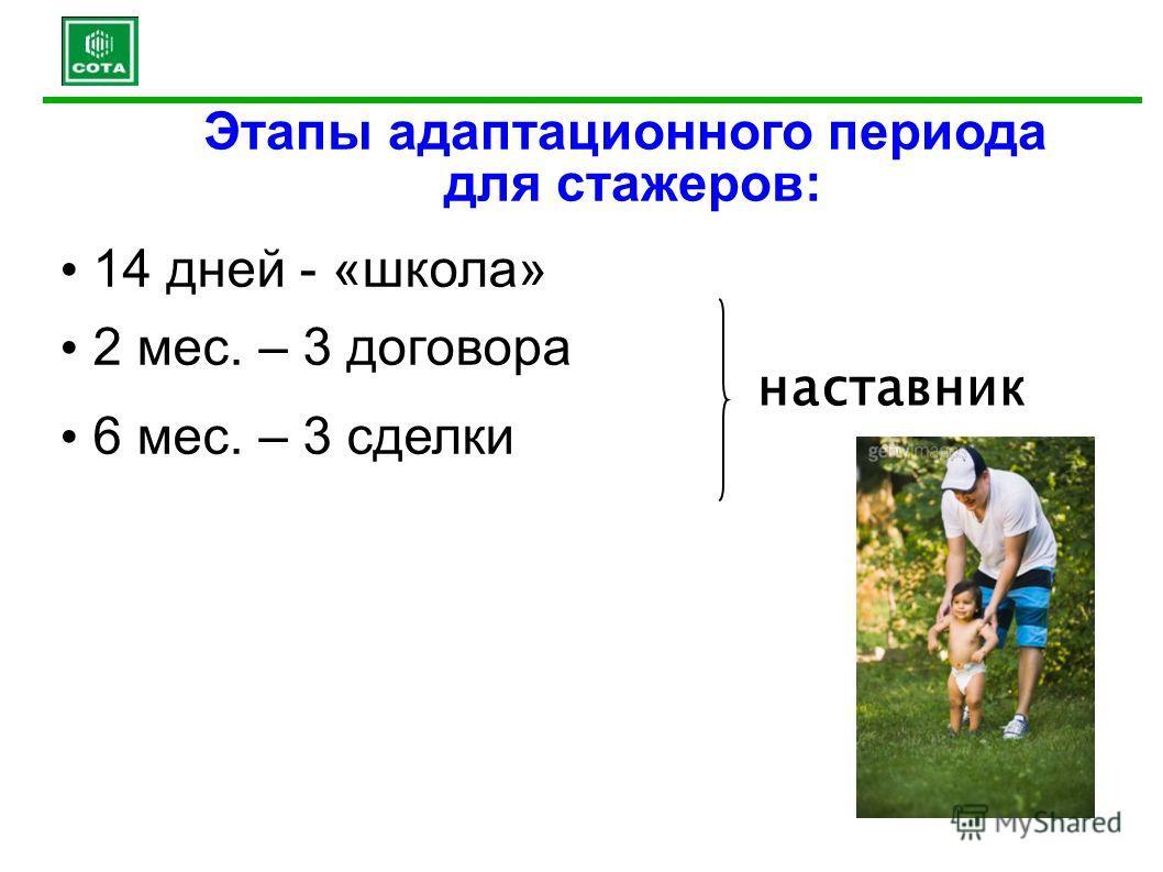 Этапы адаптационного периода для стажеров: 14 дней - «школа» 2 мес. – 3 договора 6 мес. – 3 сделки наставник