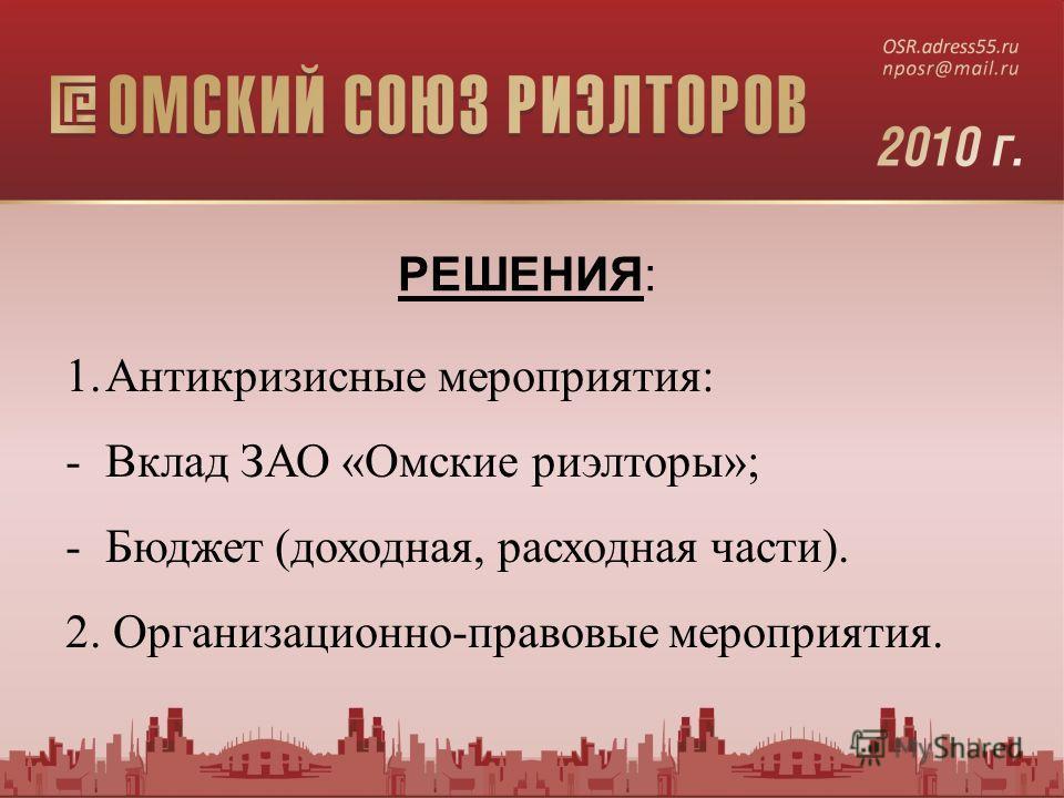 1.Антикризисные мероприятия: -Вклад ЗАО «Омские риэлторы»; -Бюджет (доходная, расходная части). 2. Организационно-правовые мероприятия. РЕШЕНИЯ: