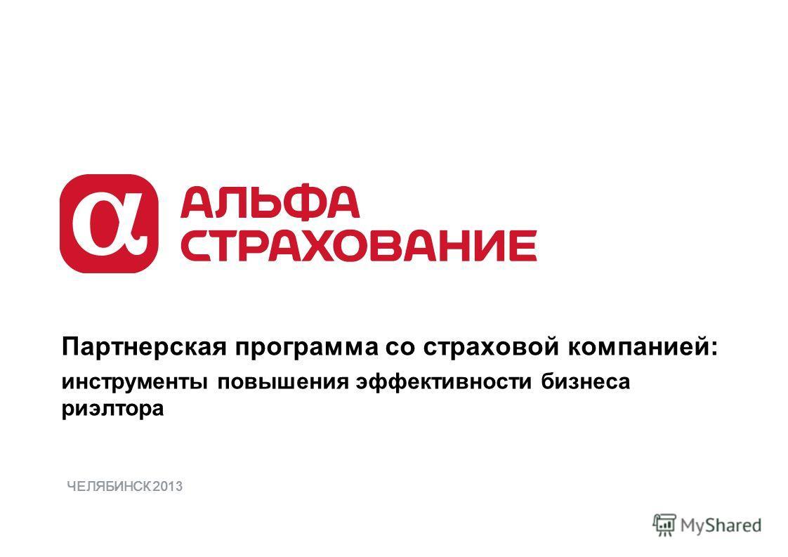Партнерская программа со страховой компанией: инструменты повышения эффективности бизнеса риэлтора ЧЕЛЯБИНСК 20 13
