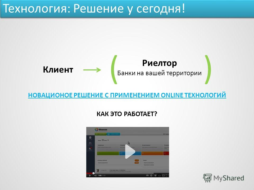 КАК ЭТО РАБОТАЕТ? НОВАЦИОНОЕ РЕШЕНИЕ С ПРИМЕНЕНИЕМ ONLINE ТЕХНОЛОГИЙ Клиент Риелтор Банки на вашей территории )( Технология: Решение у сегодня!