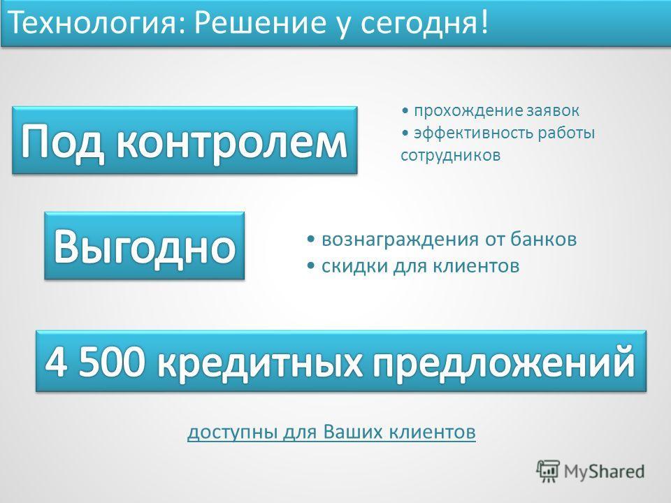 прохождение заявок эффективность работы сотрудников Технология: Решение у сегодня! вознаграждения от банков скидки для клиентов доступны для Ваших клиентов