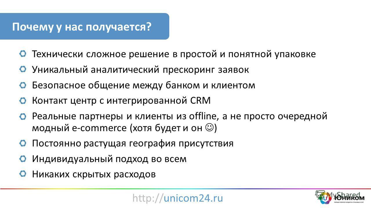 Технически сложное решение в простой и понятной упаковке Уникальный аналитический прескоринг заявок Безопасное общение между банком и клиентом Контакт центр с интегрированной CRM Реальные партнеры и клиенты из offline, а не просто очередной модный e-