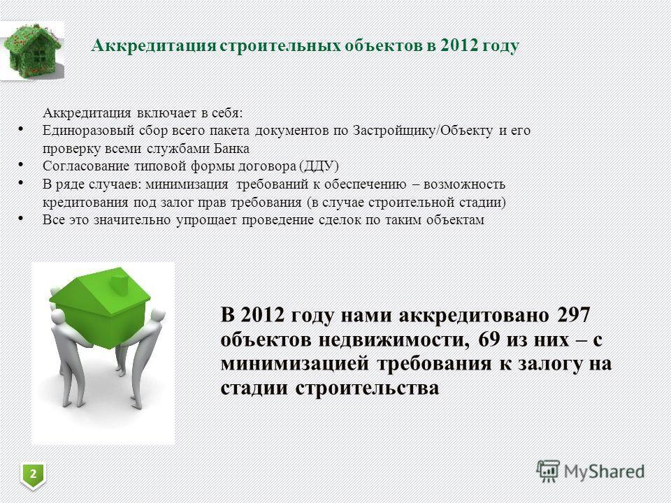 2 2 Аккредитация строительных объектов в 2012 году Аккредитация включает в себя: Единоразовый сбор всего пакета документов по Застройщику/Объекту и его проверку всеми службами Банка Согласование типовой формы договора (ДДУ) В ряде случаев: минимизаци