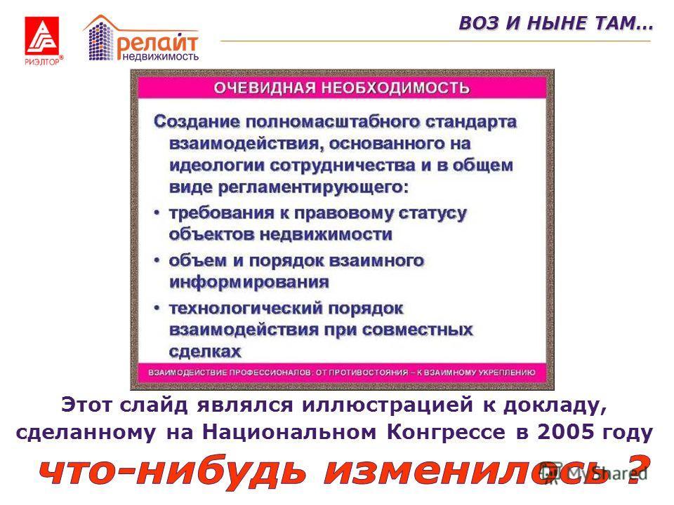 ВОЗ И НЫНЕ ТАМ… Этот слайд являлся иллюстрацией к докладу, сделанному на Национальном Конгрессе в 2005 году