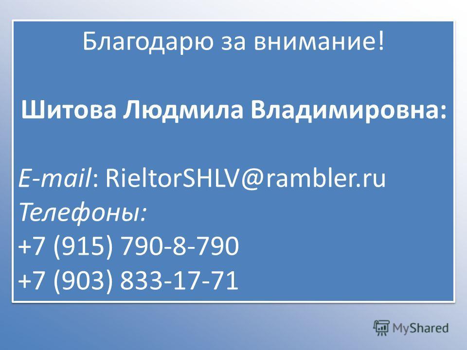 Благодарю за внимание! Шитова Людмила Владимировна: E-mail: RieltorSHLV@rambler.ru Телефоны: +7 (915) 790-8-790 +7 (903) 833-17-71 Благодарю за внимание! Шитова Людмила Владимировна: E-mail: RieltorSHLV@rambler.ru Телефоны: +7 (915) 790-8-790 +7 (903