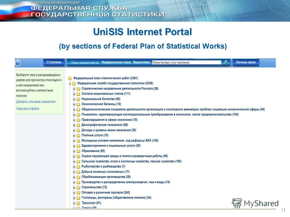 11 UniSIS Internet Portal (by sections of Federal Plan of Statistical Works)