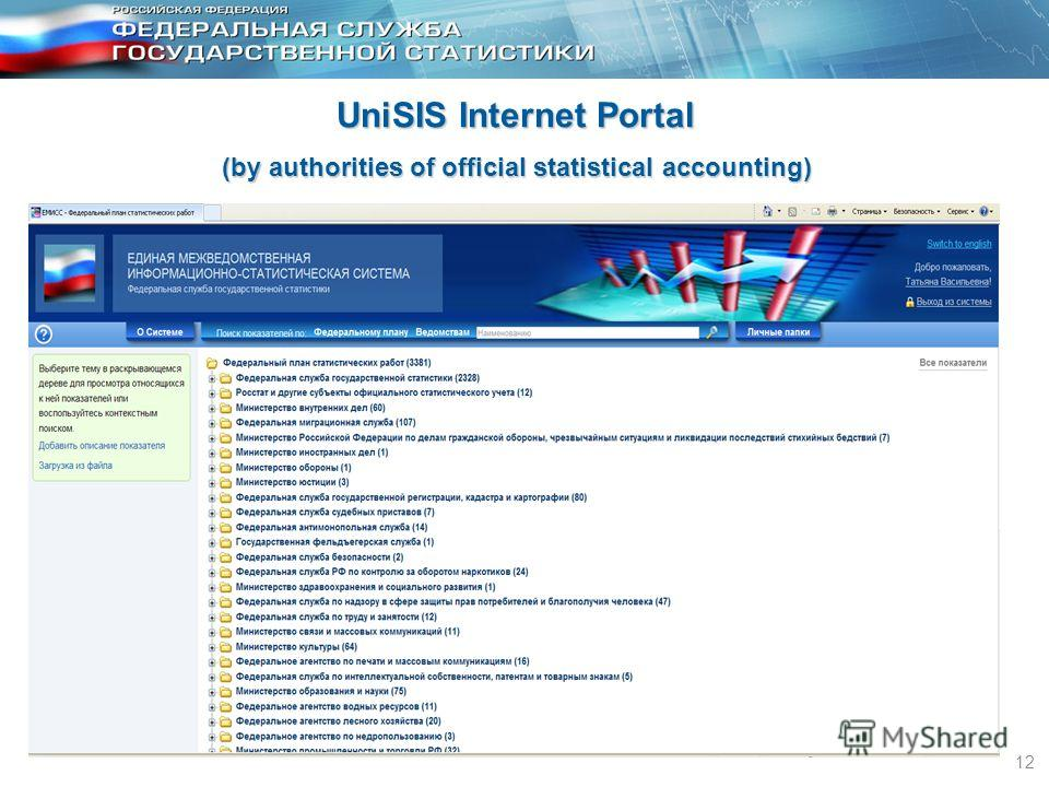 12 UniSIS Internet Portal (by authorities of official statistical accounting)