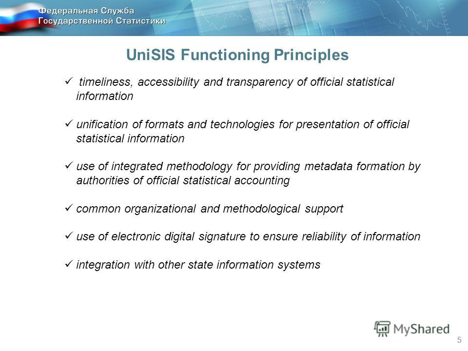 55 timeliness, accessibility and transparency of official statistical information unification of formats and technologies for presentation of official statistical information use of integrated methodology for providing metadata formation by authoriti