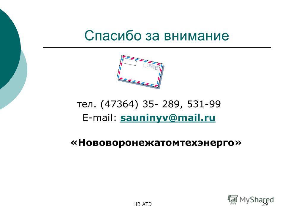 НВ АТЭ29 Спасибо за внимание тел. (47364) 35- 289, 531-99 E-mail: sauninyv@mail.rusauninyv@mail.ru «Нововоронежатомтехэнерго»