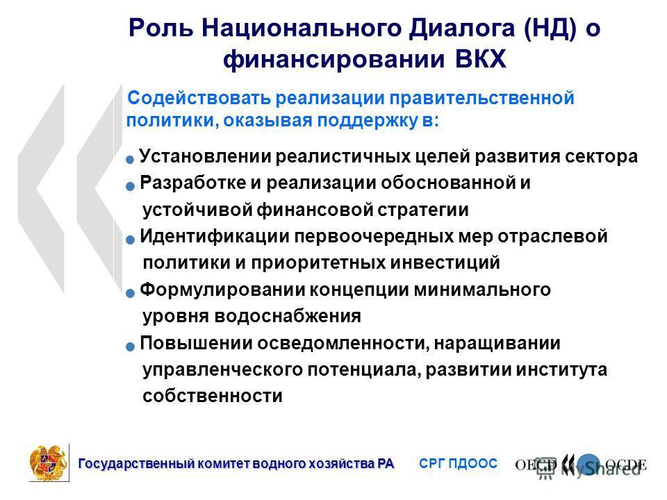 Роль Национального Диалога (НД) о финансировании ВКХ Содействовать реализации правительственной политики, оказывая поддержку в: Установлении реалистичных целей развития сектора Разработке и реализации обоснованной и устойчивой финансовой стратегии Ид
