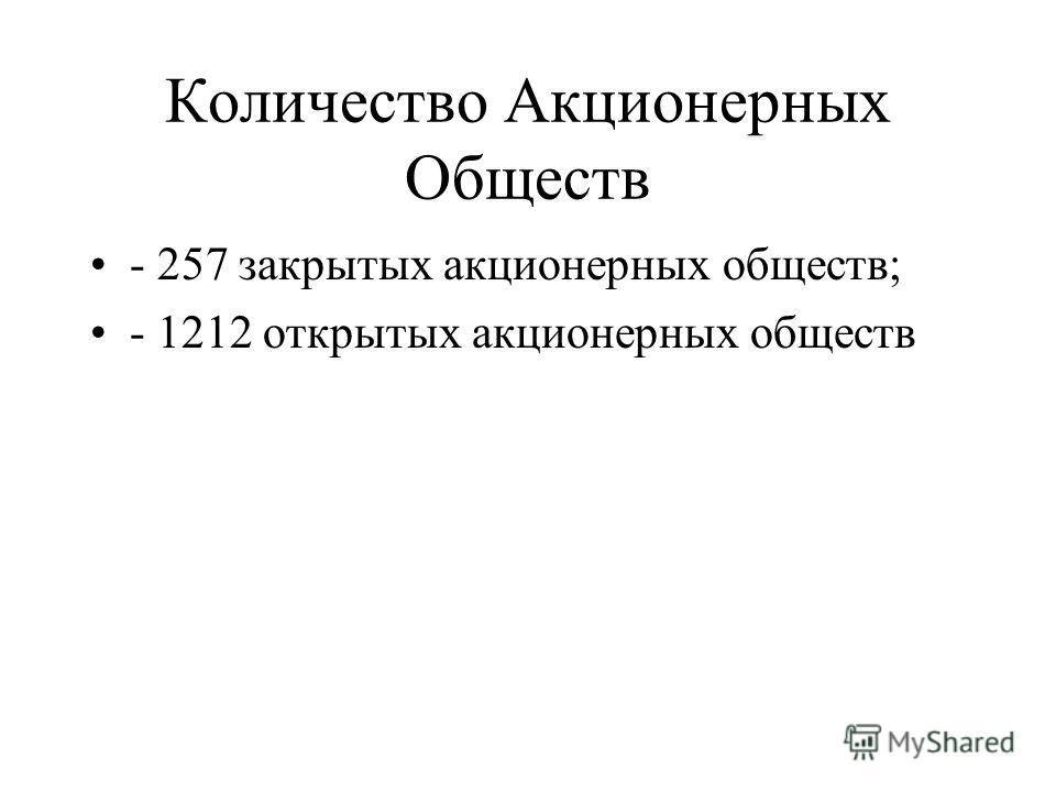 Количество Акционерных Обществ - 257 закрытых акционерных обществ; - 1212 открытых акционерных обществ