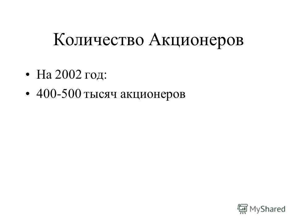 Количество Акционеров На 2002 год: 400-500 тысяч акционеров