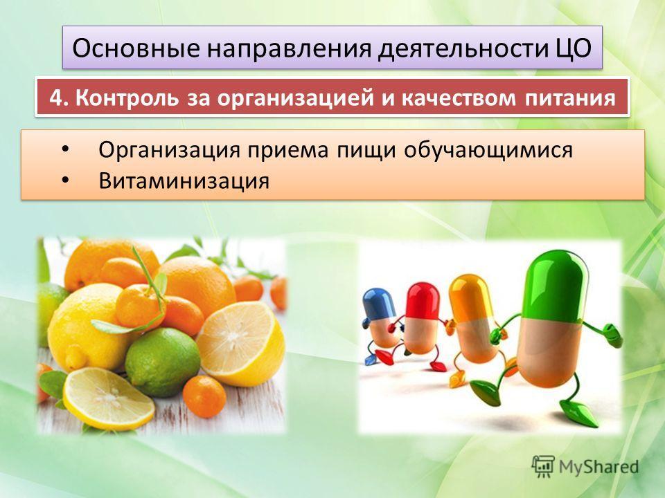 Организация приема пищи обучающимися Витаминизация Организация приема пищи обучающимися Витаминизация Основные направления деятельности ЦО 4. Контроль за организацией и качеством питания