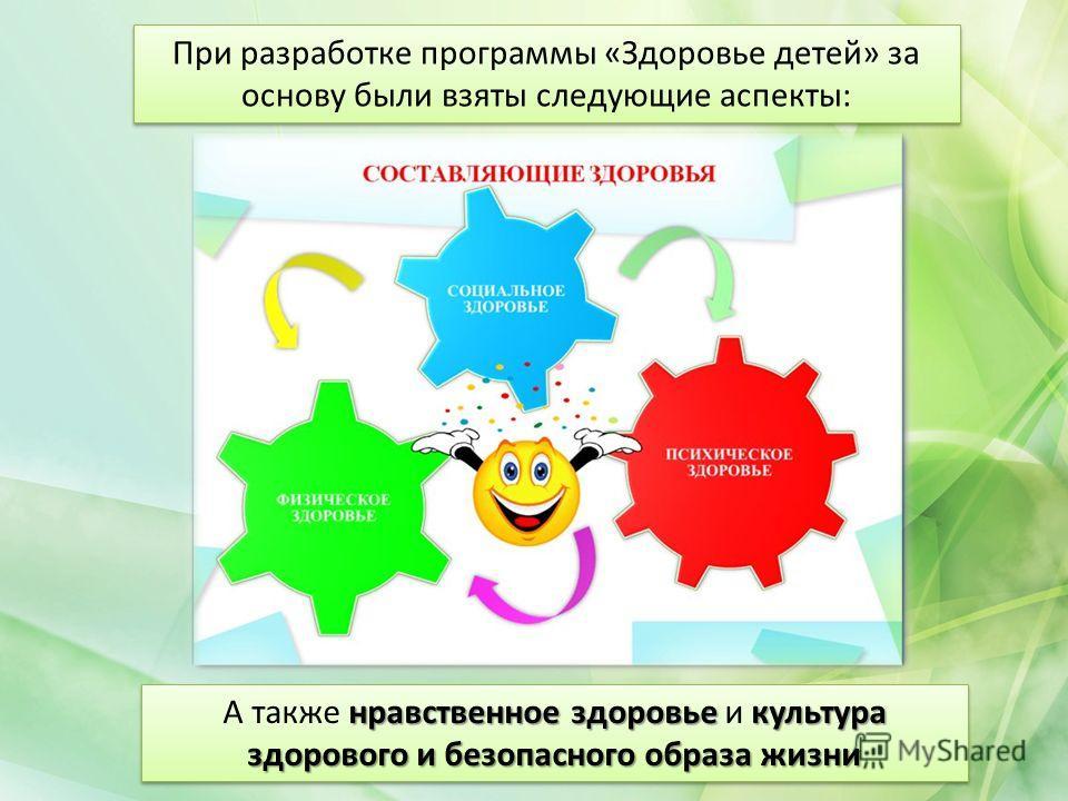 При разработке программы «Здоровье детей» за основу были взяты следующие аспекты: нравственное здоровье культура здорового и безопасного образа жизни А также нравственное здоровье и культура здорового и безопасного образа жизни