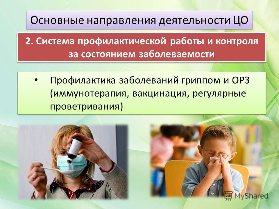 Основные направления деятельности ЦО Профилактика заболеваний гриппом и ОРЗ (иммунотерапия, вакцинация, регулярные проветривания) 2. Система профилактической работы и контроля за состоянием заболеваемости
