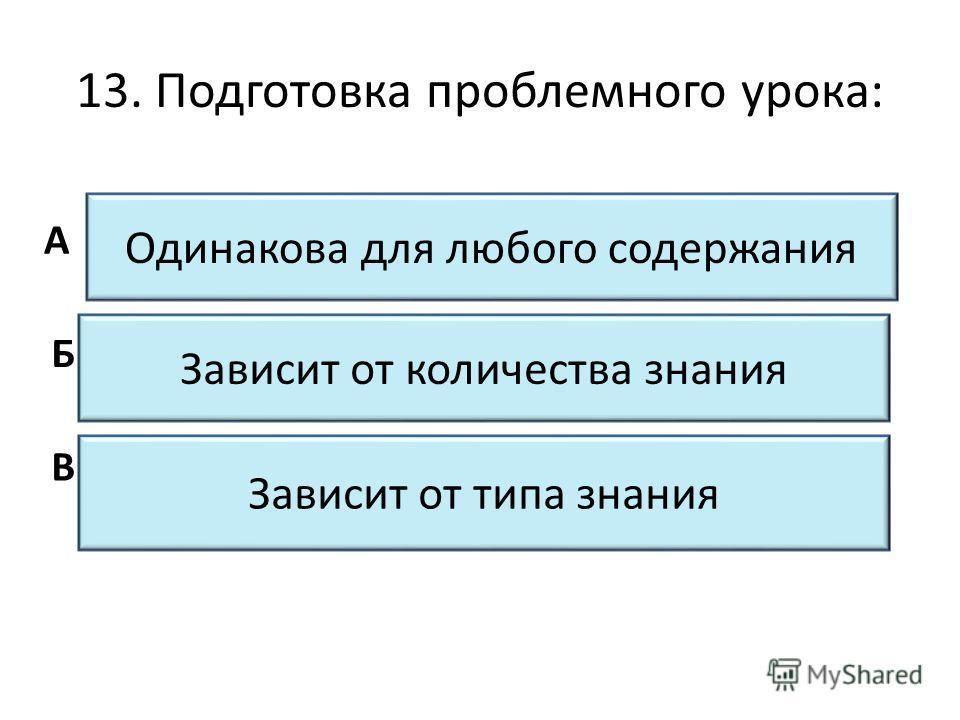 13. Подготовка проблемного урока: Одинакова для любого содержания Зависит от количества знания Зависит от типа знания А Б В