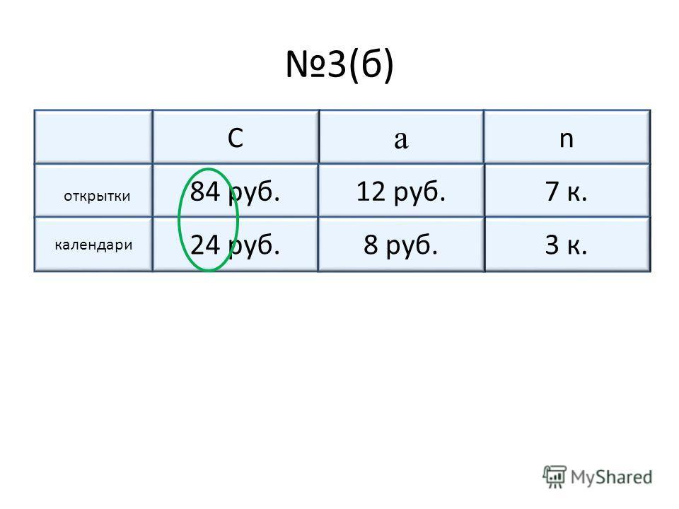 3(б) а nС открытки ?7 к.84 руб. календари ?ч24 руб.3 к.? 12 руб. 8 руб.