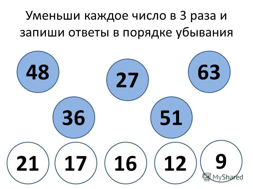 Уменьши каждое число в 3 раза и запиши ответы в порядке убывания 48 27 36 63 51 9 12161721