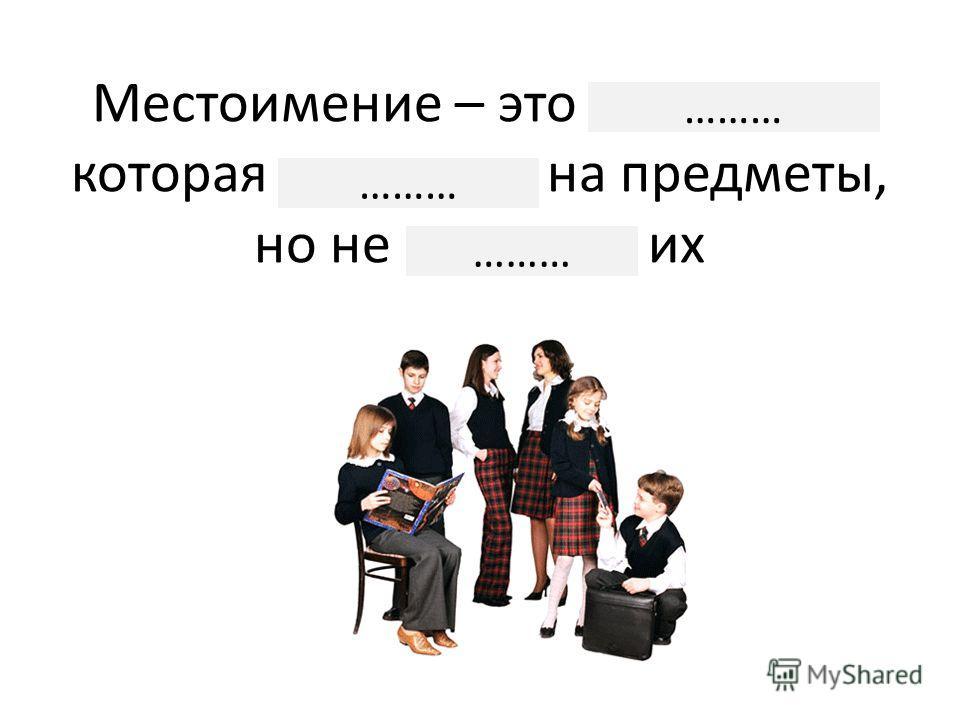 Местоимение – это часть речи, которая указывает на предметы, но не называет их ………