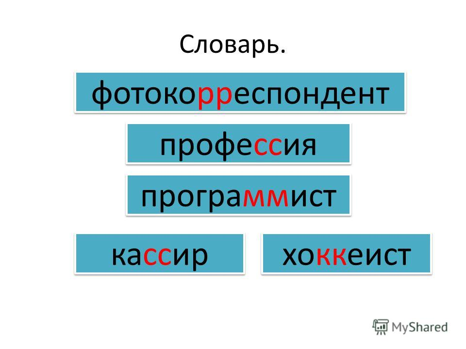 Словарь. фотокорреспондент кассир программист профессия хоккеист