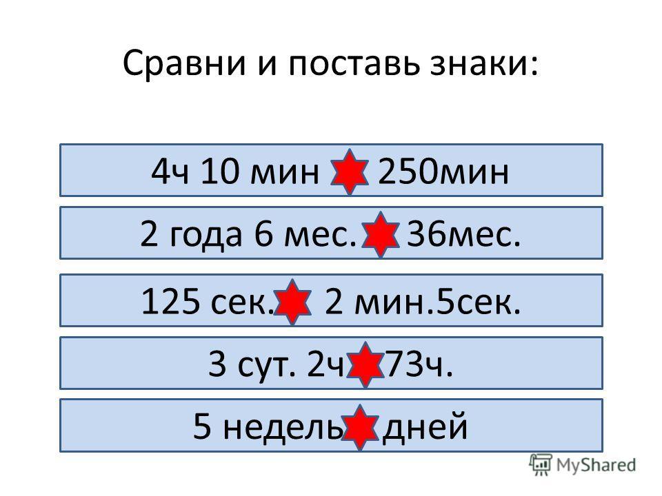 Сравни и поставь знаки: 4ч 10 мин = 250мин 2 года 6 мес. < 36мес. 125 сек. = 2 мин.5сек. 3 сут. 2ч > 73ч. 5 недель > дней
