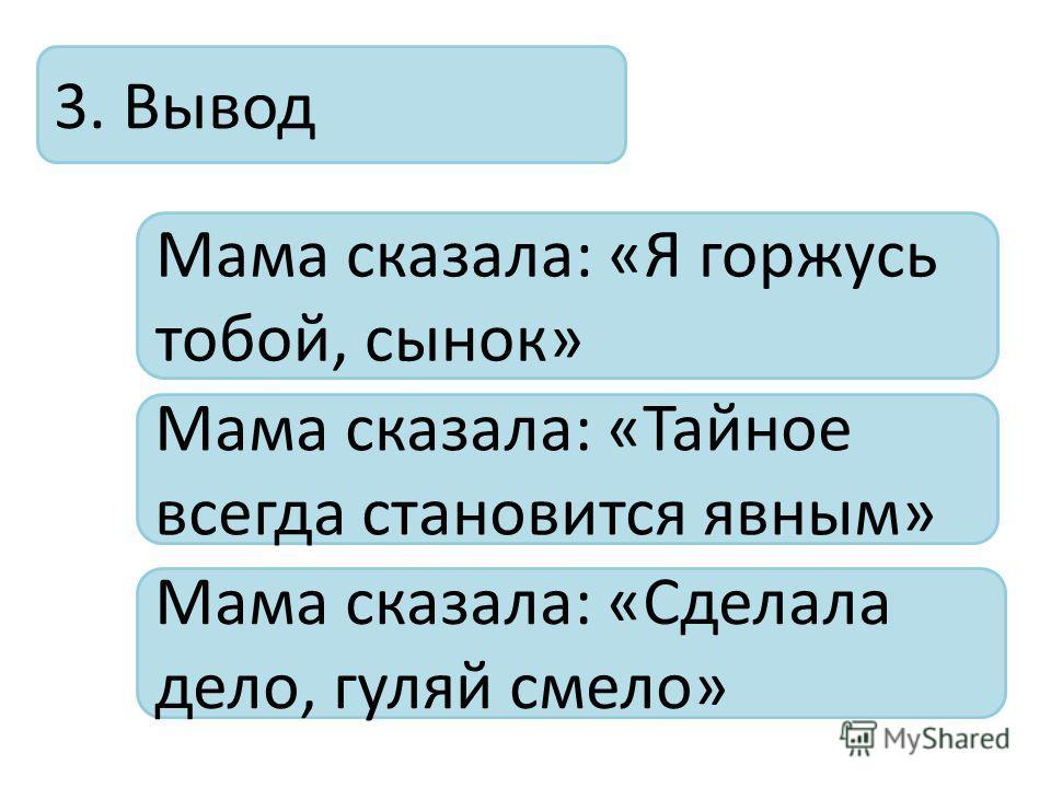3. Вывод Мама сказала: «Я горжусь тобой, сынок» Мама сказала: «Тайное всегда становится явным» Мама сказала: «Сделала дело, гуляй смело»