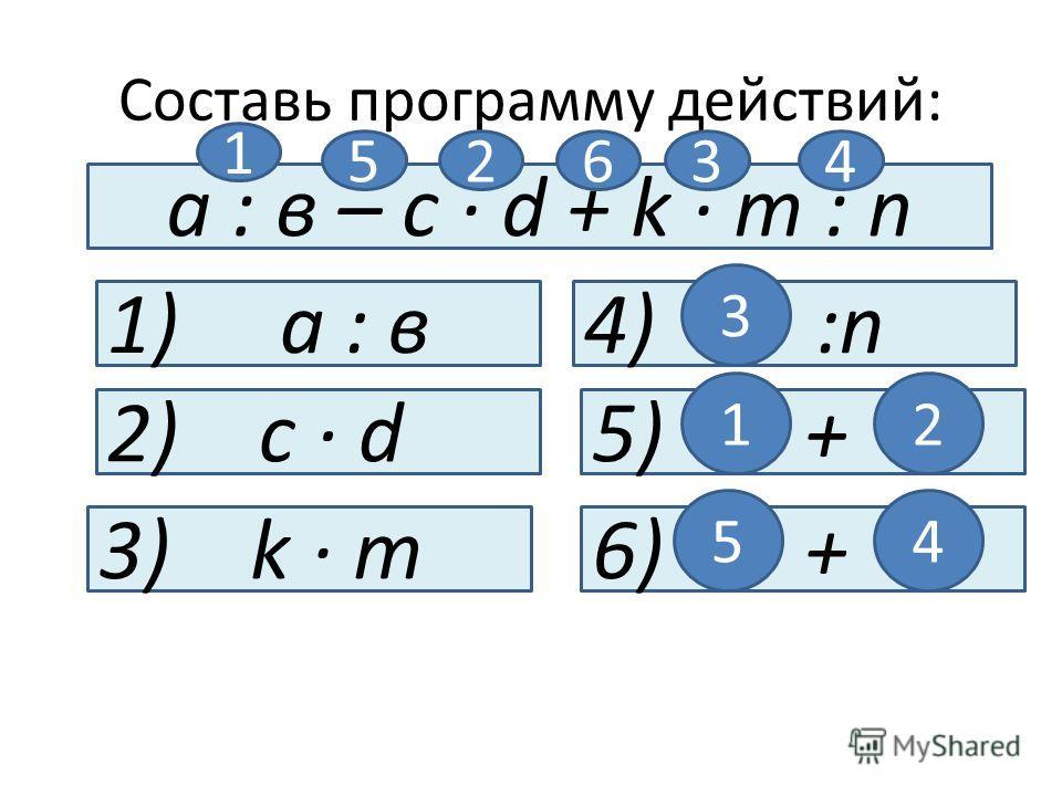 Составь программу действий: а : в – с · d + k · m : n 1) а : в 2) с · d 3) k · m 4) :n 3 5) + 12 6) + 54 1 23456