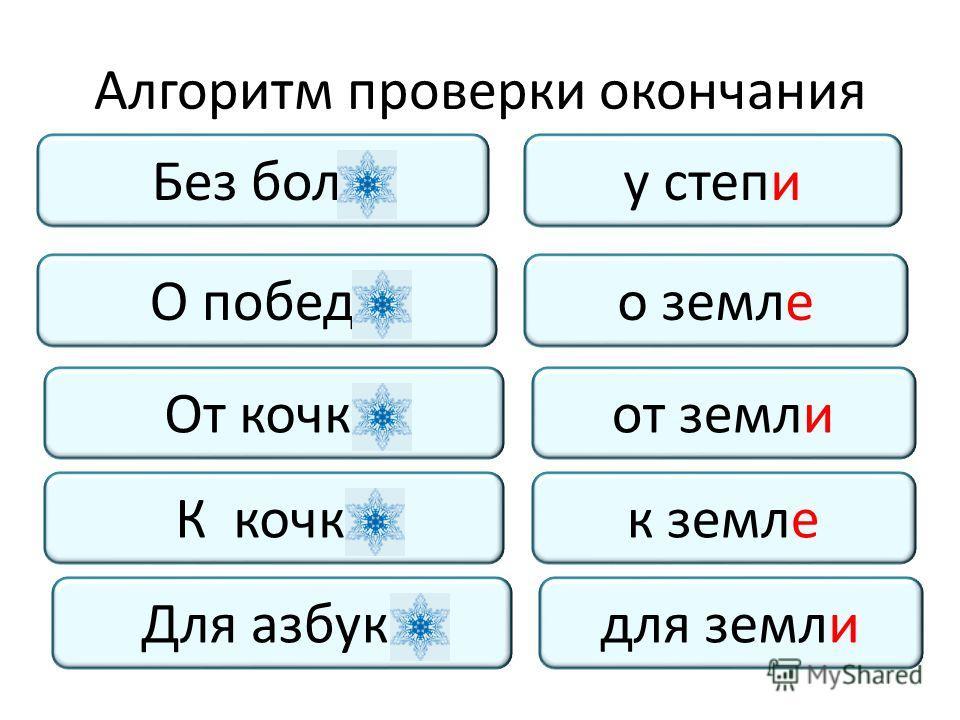 Алгоритм проверки окончания Без боли К кочке О победе Для азбуки От кочки у степи к земле о земле для земли от земли