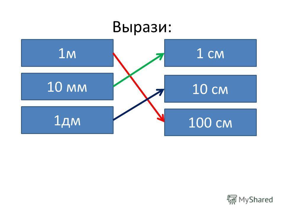 Вырази: 1м 100 см 10 мм 1 см 1дм 10 см