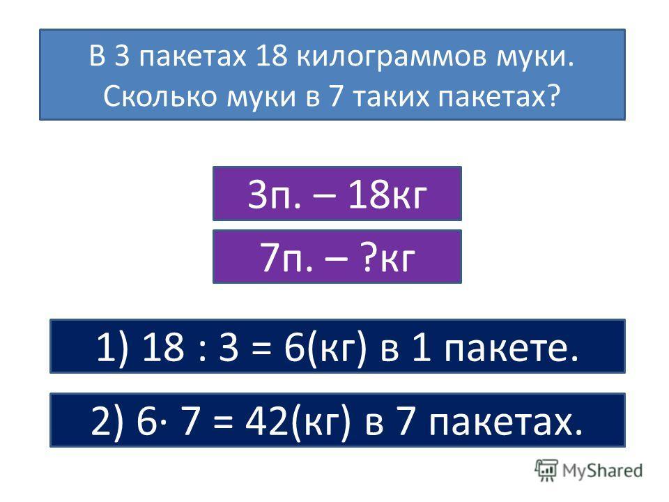 В 3 пакетах 18 килограммов муки. Сколько муки в 7 таких пакетах? 1) 18 : 3 = 6(кг) в 1 пакете. 2) 6· 7 = 42(кг) в 7 пакетах. 3п. – 18кг 7п. – ?кг