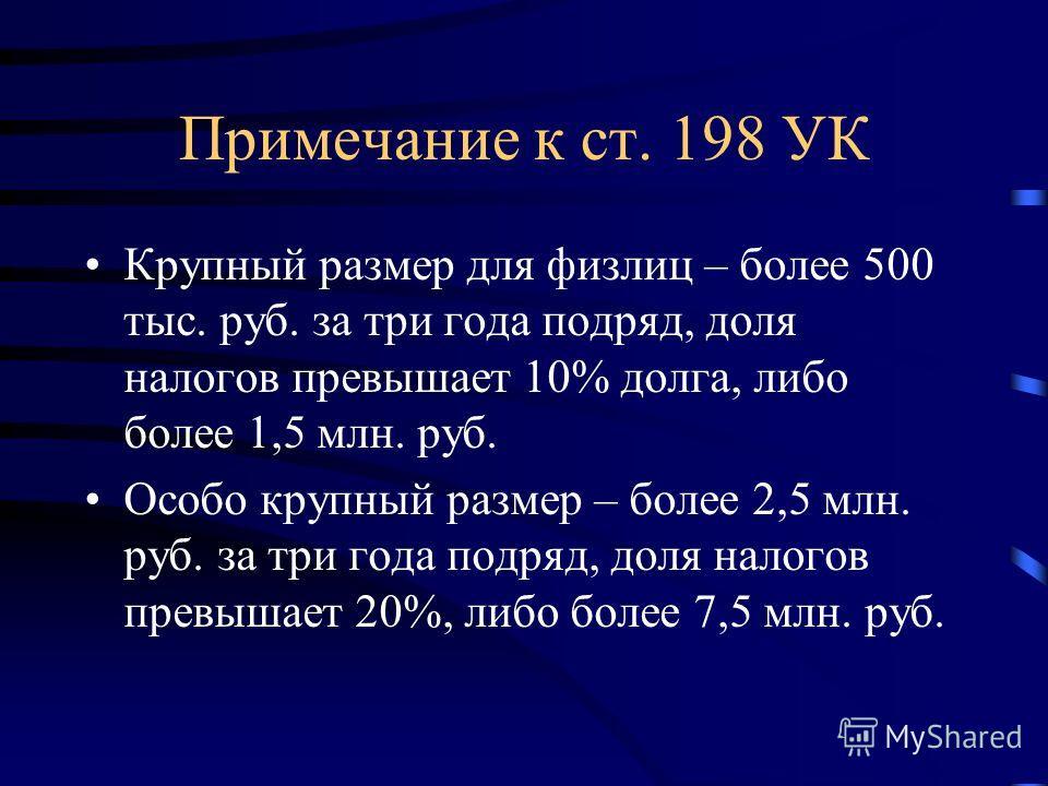 Примечание к ст. 198 УК Крупный размер для физлиц – более 500 тыс. руб. за три года подряд, доля налогов превышает 10% долга, либо более 1,5 млн. руб. Особо крупный размер – более 2,5 млн. руб. за три года подряд, доля налогов превышает 20%, либо бол
