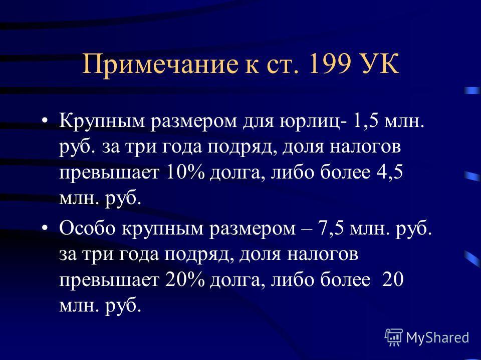 Примечание к ст. 199 УК Крупным размером для юрлиц- 1,5 млн. руб. за три года подряд, доля налогов превышает 10% долга, либо более 4,5 млн. руб. Особо крупным размером – 7,5 млн. руб. за три года подряд, доля налогов превышает 20% долга, либо более 2