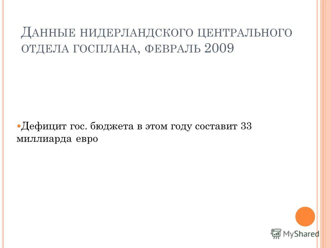 Д АННЫЕ НИДЕРЛАНДСКОГО ЦЕНТРАЛЬНОГО ОТДЕЛА ГОСПЛАНА, ФЕВРАЛЬ 2009 Дефицит гос. бюджета в этом году составит 33 миллиарда евро