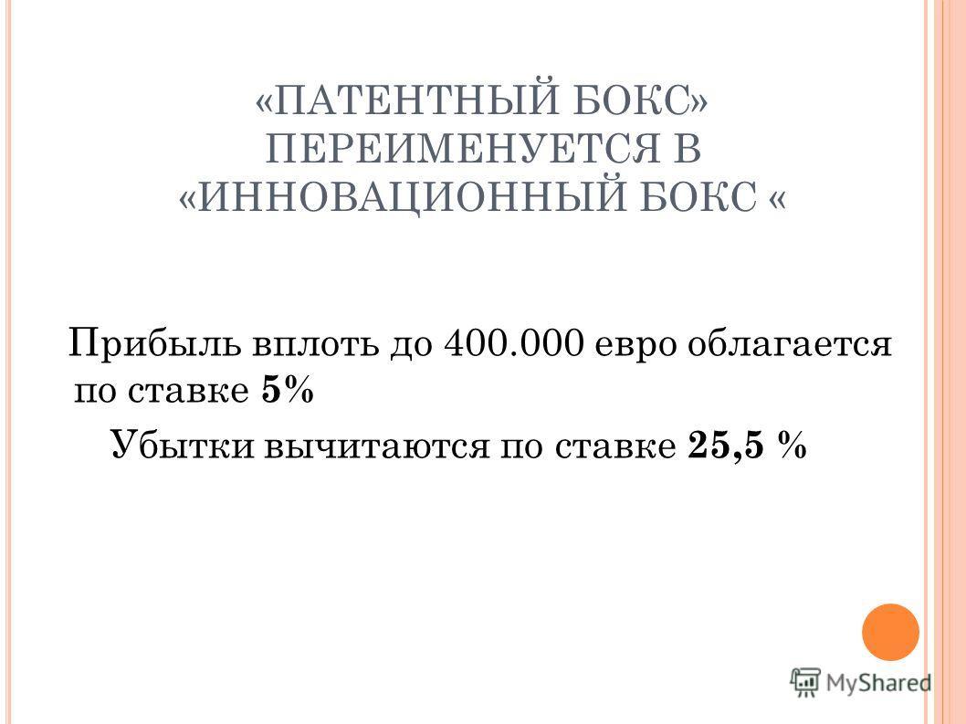 «ПАТЕНТНЫЙ БОКС» ПЕРЕИМЕНУЕТСЯ В «ИННОВАЦИОННЫЙ БОКС « Прибыль вплоть до 400.000 евро облагается по ставке 5% Убытки вычитаются по ставке 25,5 %