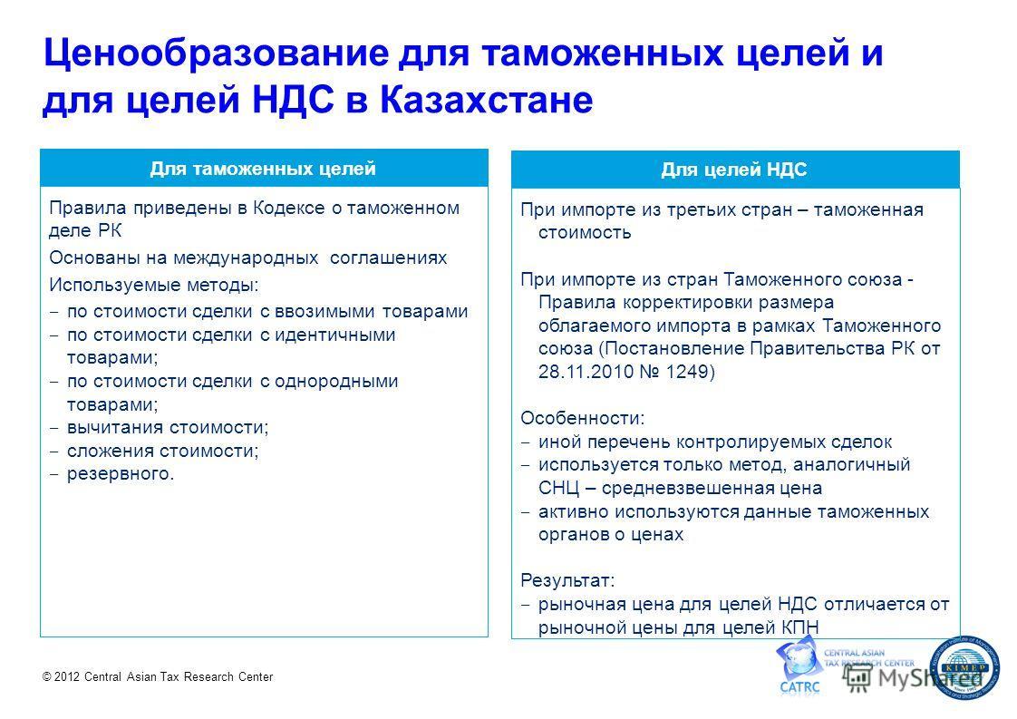 © 2012 Central Asian Tax Research Center Для таможенных целей Для целей НДС Правила приведены в Кодексе о таможенном деле РК Основаны на международных соглашениях Используемые методы: по стоимости сделки с ввозимыми товарами по стоимости сделки с иде