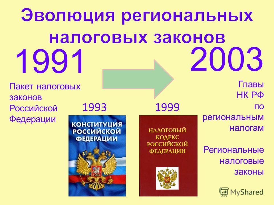 1991 Пакет налоговых законов Российской Федерации 2003 Главы НК РФ по региональным налогам Региональные налоговые законы 19991993