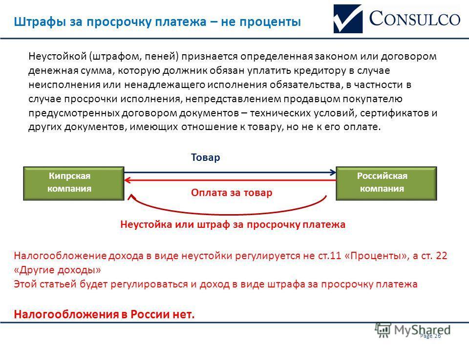 Штрафы за просрочку платежа – не проценты Кипрская компания Российская компания Неустойкой (штрафом, пеней) признается определенная законом или договором денежная сумма, которую должник обязан уплатить кредитору в случае неисполнения или ненадлежащег
