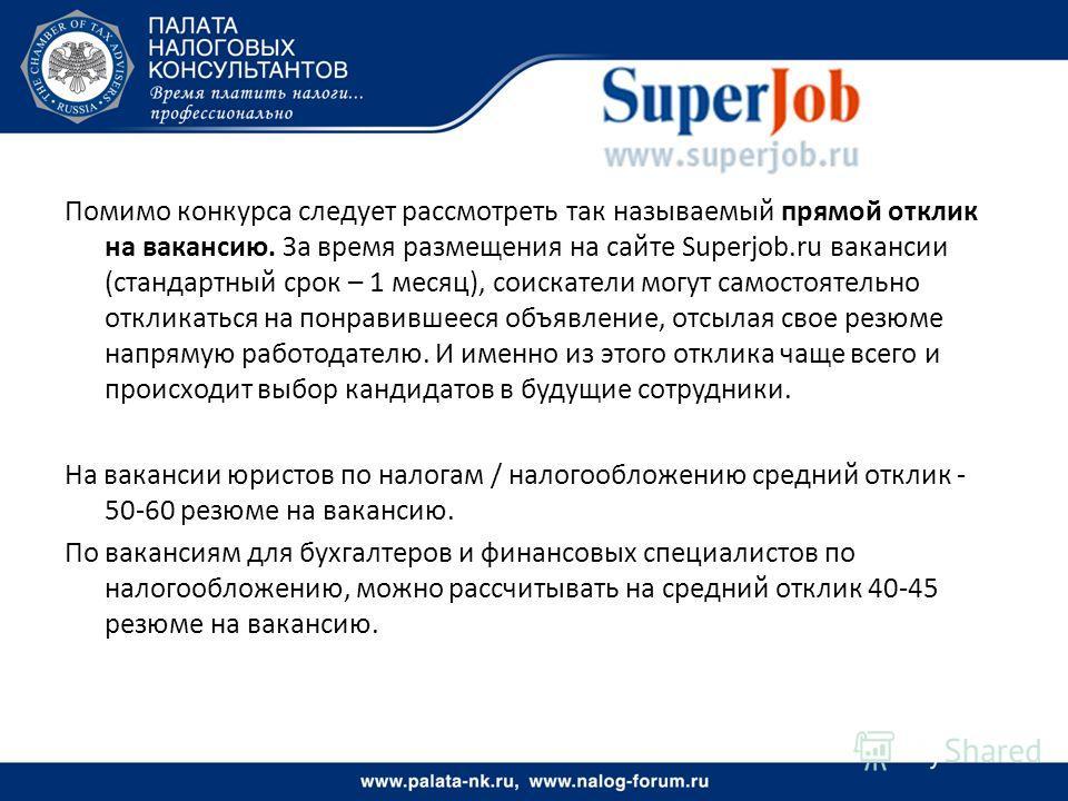 Помимо конкурса следует рассмотреть так называемый прямой отклик на вакансию. За время размещения на сайте Superjob.ru вакансии (стандартный срок – 1 месяц), соискатели могут самостоятельно откликаться на понравившееся объявление, отсылая свое резюме
