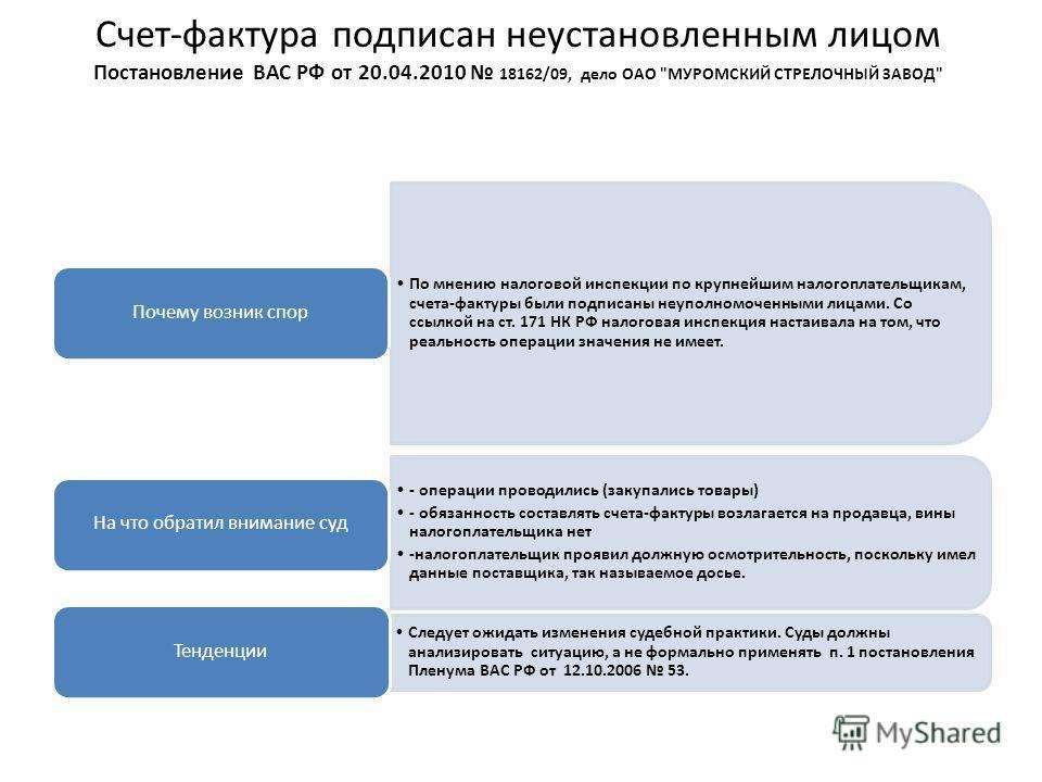 Счет-фактура подписан неустановленным лицом Постановление ВАС РФ от 20.04.2010 18162/09, дело ОАО