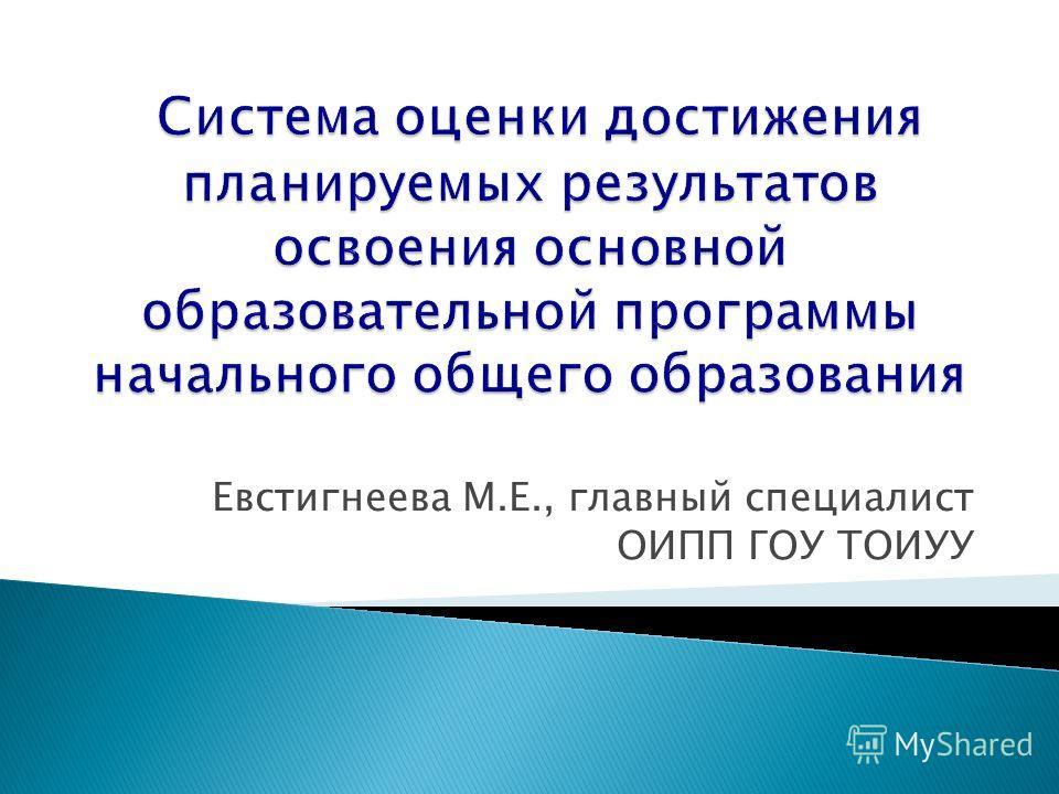 Евстигнеева М.Е., главный специалист ОИПП ГОУ ТОИУУ