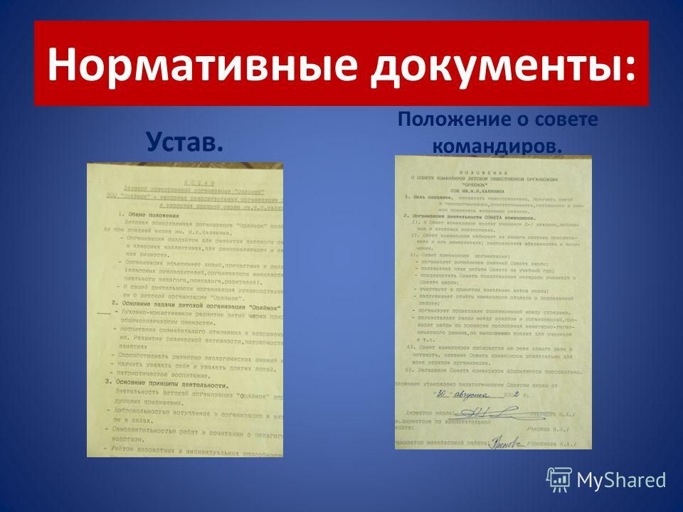 Нормативные документы: Устав. Положение о совете командиров.