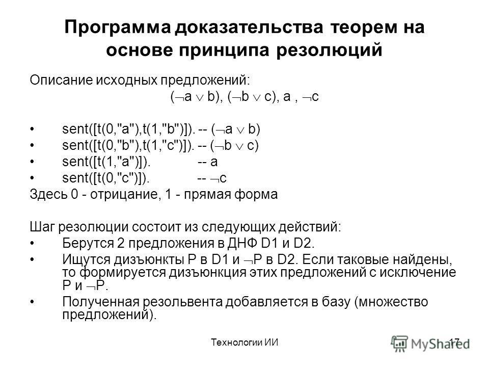 Технологии ИИ17 Программа доказательства теорем на основе принципа резолюций Описание исходных предложений: ( a b), ( b c), a, c sent([t(0,