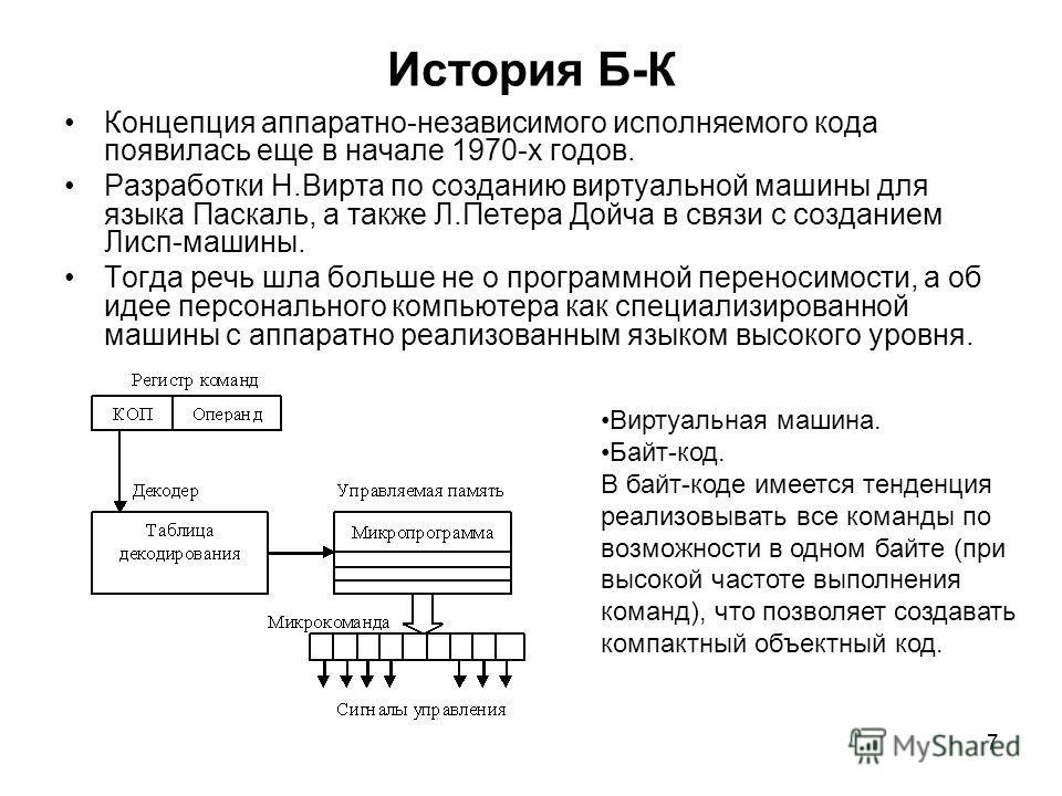 7 История Б-К Концепция аппаратно-независимого исполняемого кода появилась еще в начале 1970-х годов. Разработки Н.Вирта по созданию виртуальной машины для языка Паскаль, а также Л.Петера Дойча в связи с созданием Лисп-машины. Тогда речь шла больше н