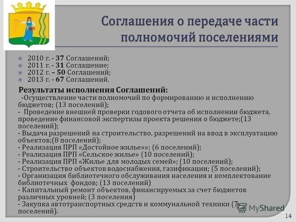 2010 г. - 37 Соглашений ; 2011 г. - 31 Соглашение ; 2012 г. – 50 Соглашений ; 2013 г. - 67 Соглашений. Результаты исполнения Соглашений : - Осуществление части полномочий по формированию и исполнению бюджетов ; (13 поселений ); - Проведение внешней п