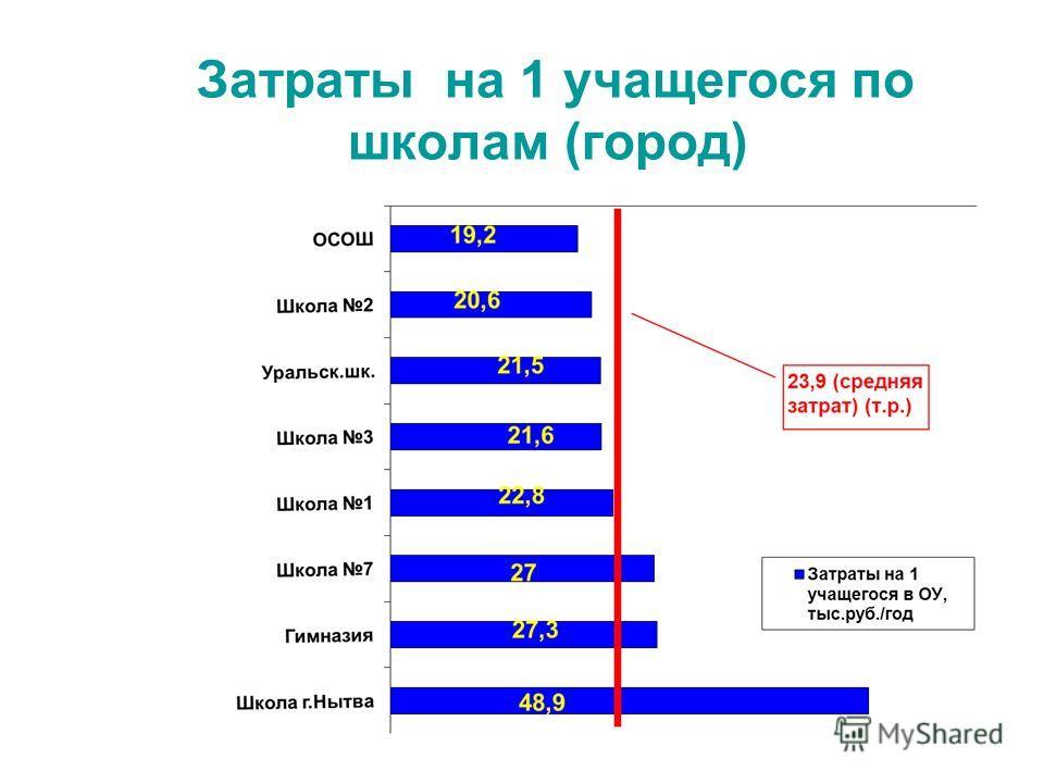 Затраты на 1 учащегося по школам (город)