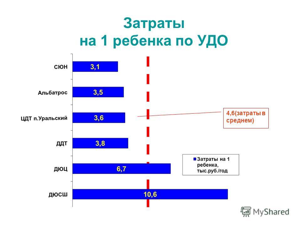 Затраты на 1 ребенка по УДО 4,6(затраты в среднем)