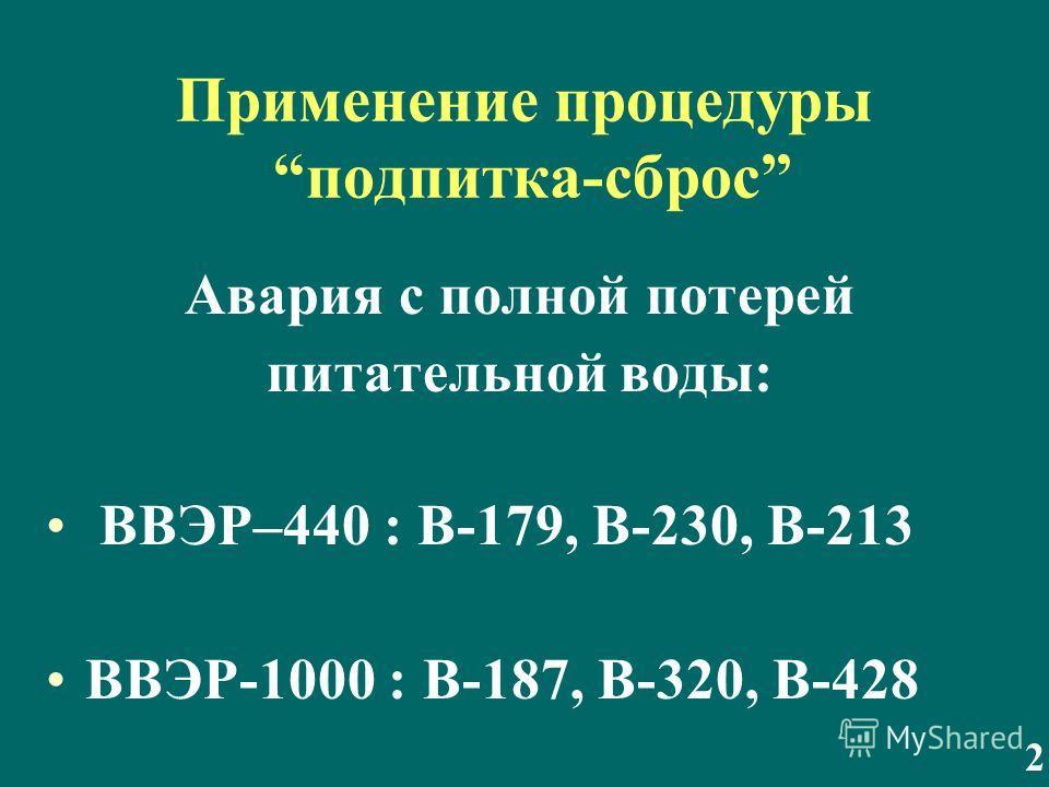 Применение процедуры подпитка-сброс Авария с полной потерей питательной воды: ВВЭР–440 : В-179, В-230, В-213 ВВЭР-1000 : В-187, В-320, В-428 2