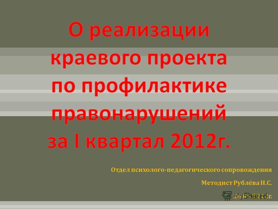 Отдел психолого - педагогического сопровождения Методист Рублёва Н. С. 26.04.2012 г.
