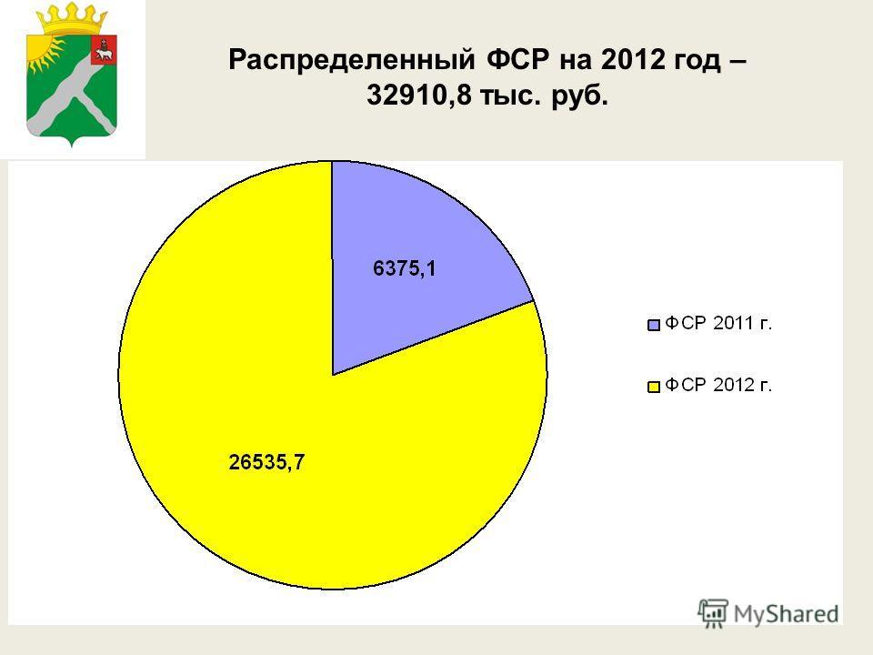 Распределенный ФСР на 2012 год – 32910,8 тыс. руб.